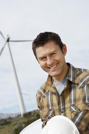 wind farm: Ingeniero en el parque e�lico, retrato