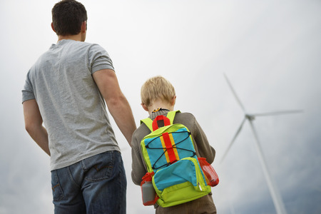Father and son (7-9) at wind farm Stock Photo - 3811654