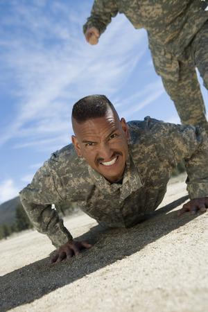 pushups: Portrait of soldier doing pushups