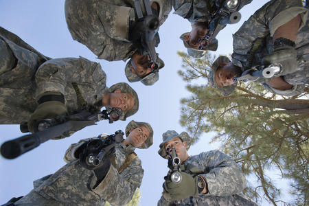Low angle portrait of armed soldiers Stock Photo - 3811781