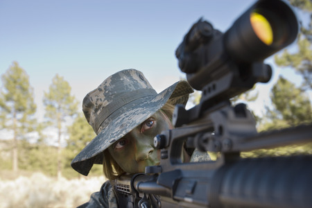 Soldier in pointing rifle Stock Photo - 3811590