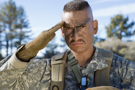 Portrait of saluting soldier Stock Photo - 3811723
