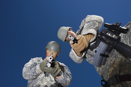 Portrait of two soldiers aiming to camera Stock Photo - 3811756
