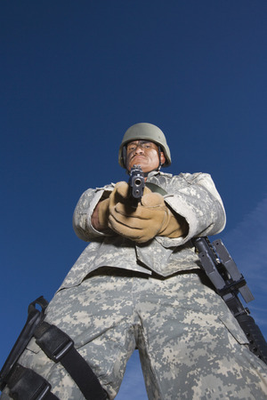 Portrait of soldier aiming to camera Stock Photo - 3811754