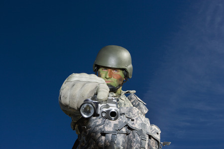 Portrait of soldier aiming to camera Stock Photo - 3811771