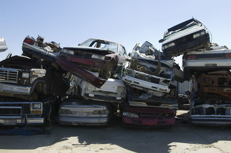 Stacked cars in junkyard Stock Photo - 3811685
