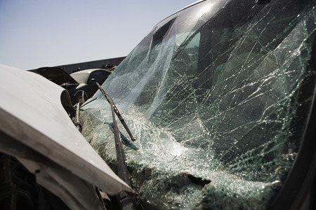 Broken car, close-up of windshield Stock Photo - 3811994