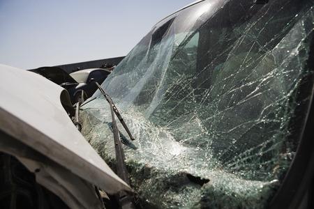 Broken car, close-up of windshield