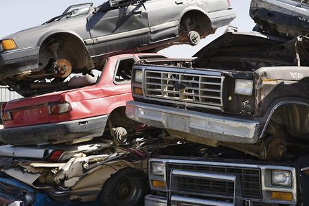 Stacked cars in junkyard Stock Photo - 3812110