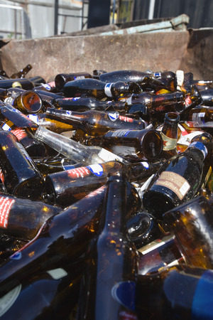 Pile of glass bottles in bin Stock Photo - 3812042