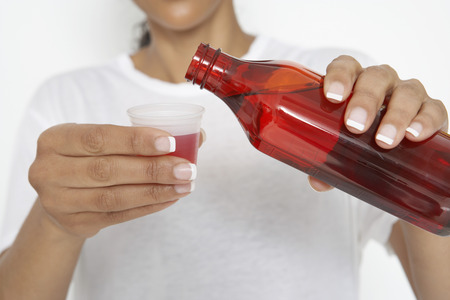 Woman pouring medicine, close-up Stock Photo - 3812805
