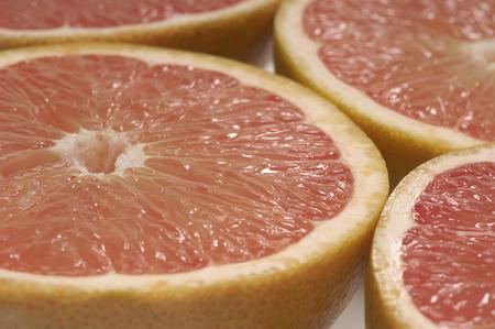 halved: Halved grapefruits, close-up