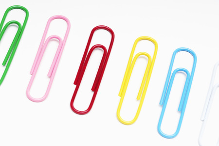 Row of multi colored paper clips Stock Photo - 3812709
