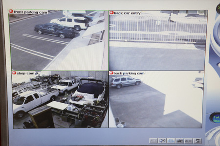 Video monitor with picture from security cameras Stock Photo - 3906413