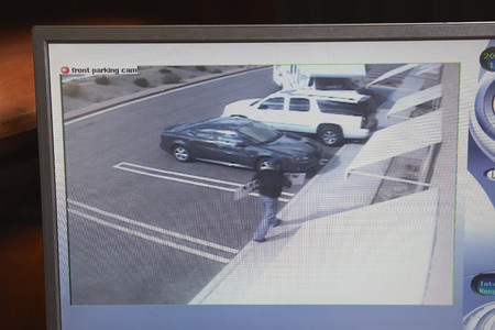 Video monitor with picture from security camera Stock Photo