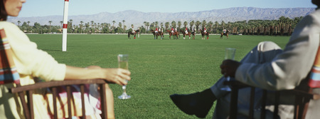 animal watching: Couple drinking champagne, sitting watching polo LANG_EVOIMAGES