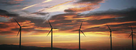 industry moody: Silhouettes of wind turbines at sunset