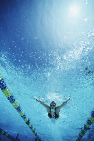 Underwater view of swimmer in pool Stock Photo - 3906419
