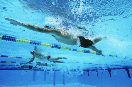 swimming competition: Male swimmers racing in pool, underwater view LANG_EVOIMAGES