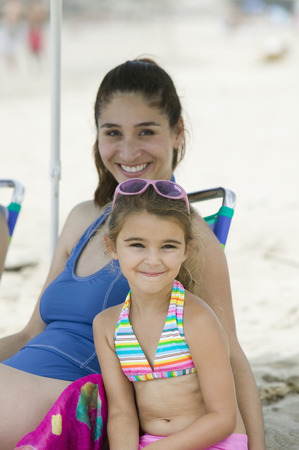Portrait of mother and daughter on beach Stock Photo - 4926012