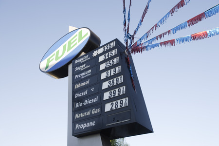 natural gas prices: Gas station sign LANG_EVOIMAGES