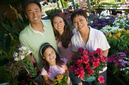 Family Shopping for Plants Stock Photo - 5404654