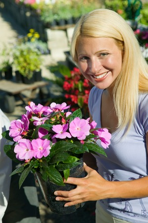 opting: Woman Holding Flowers