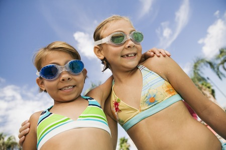 fond of children: Girls at the Pool