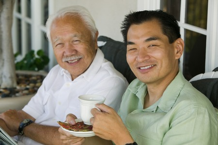 mundane: Father and Son Drinking Coffee