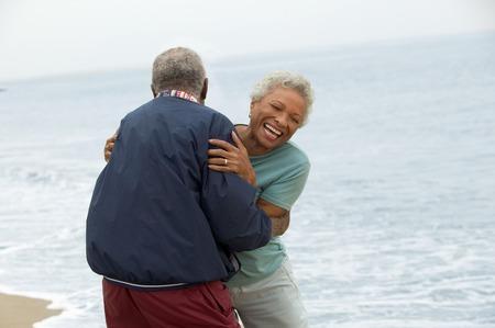 only mature women: Frisky Mature Couple at Beach