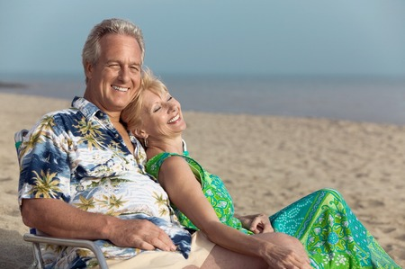 late forties: Middle-Aged Couple at Beach