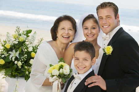 wedding customs: Bride and Groom With Mother and Brother