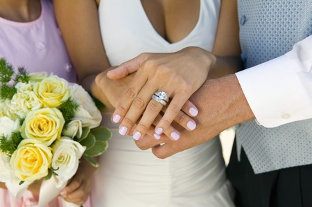 wedding customs: Close-up of Brides Hands and Wedding Ring