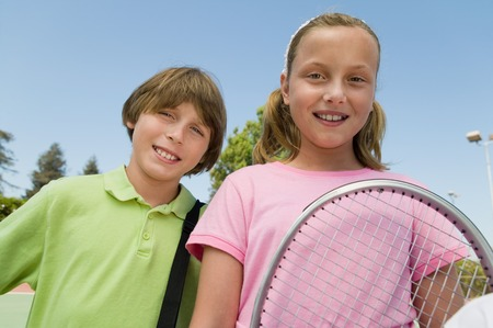 tennis racket: Brother and Sister with Tennis Racket