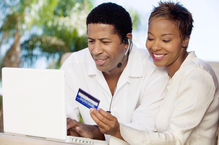 online transaction: Couple Buying Online