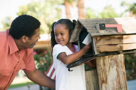 Father and Daughter at Mailbox Stock Photo - 5419995