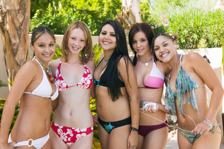 ethnic mixes: Friends Hanging Out Poolside