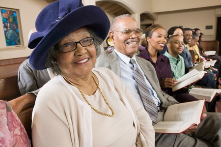 pew: Senior Woman in Sunday Best at Church