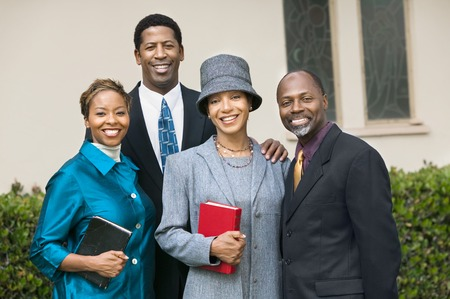 Friendly Couples Going to Church on Sunday Stock Photo - 5428325