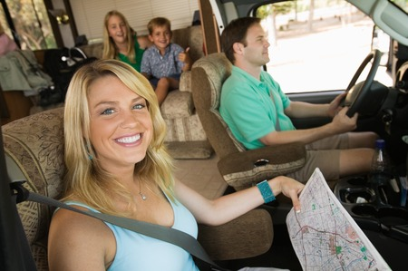 vacationer: Family in RV on Summer Road Trip