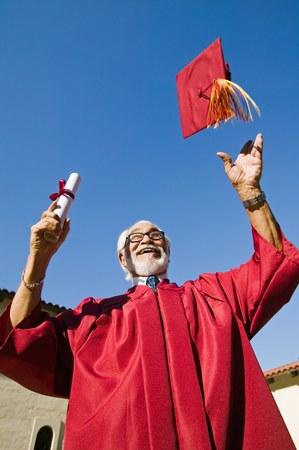 academic robe: Senior Graduate Tossing His Mortarboard