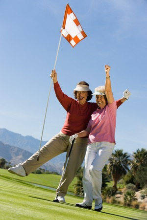 excite: Excited Women on Putting Green