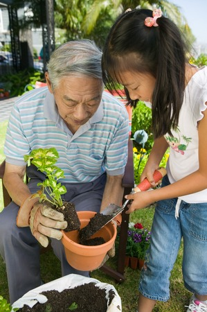 doityourself: Grandfather and Granddaughter Gardening