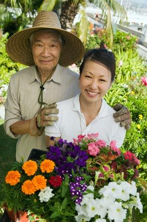 asian gardening: Man and Woman Gardening