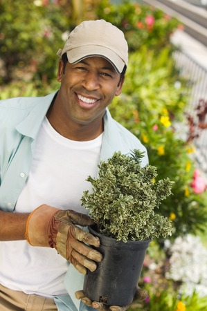 Man Ready to Work in Garden Stock Photo - 5435858