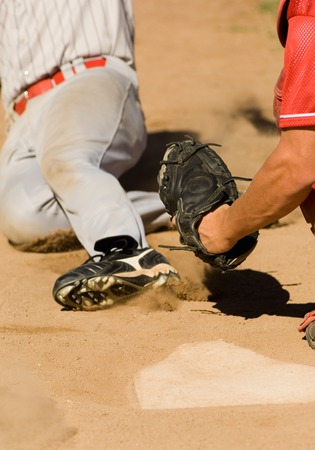 athletic gear: Close Play at Home Plate in Baseball Game