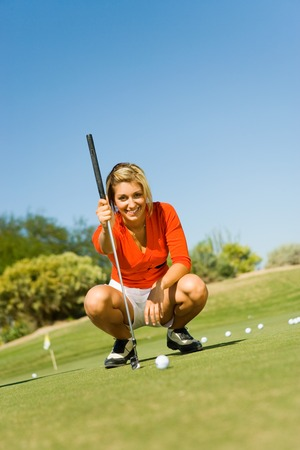Golfer Lining Up Put on Practice Green Stock Photo - 5435976