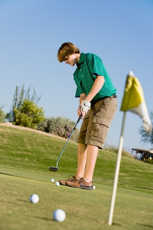 Golfer Putting on Practice Green Stock Photo - 5435982