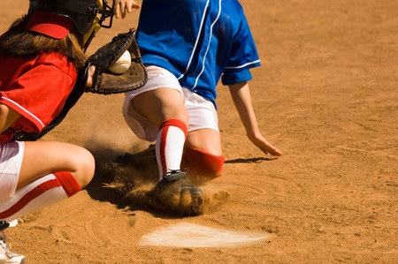teenaged girls: Close Call on Home Plate