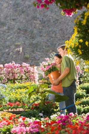 nurseries: Couple Shopping for Garden Supplies